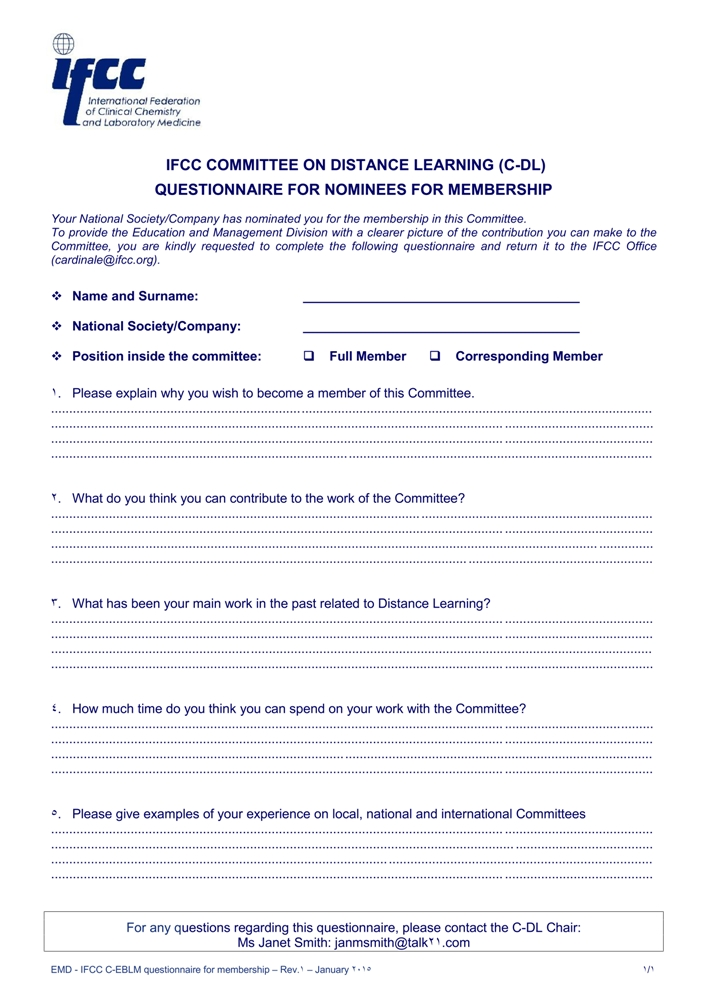 IFCC C-DL Questionnaire for membership