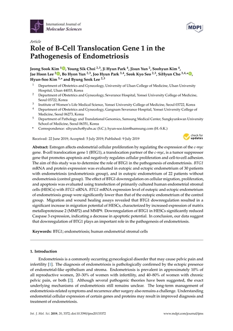 Role of B-Cell Translocation Gene 1 in the Pathogenesis of Endometriosis