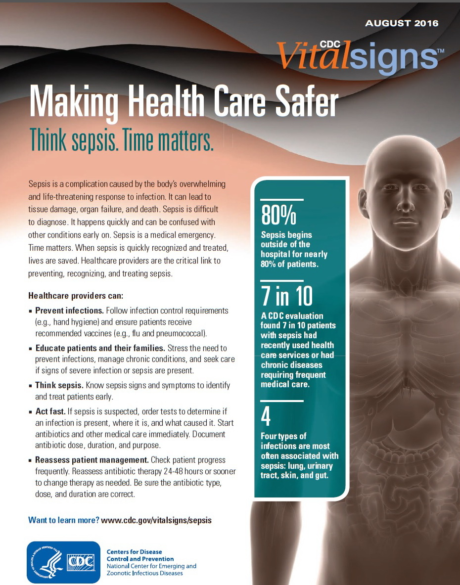 Making Health Care Safer - Think sepsis. Time matters - AUGUST  2016