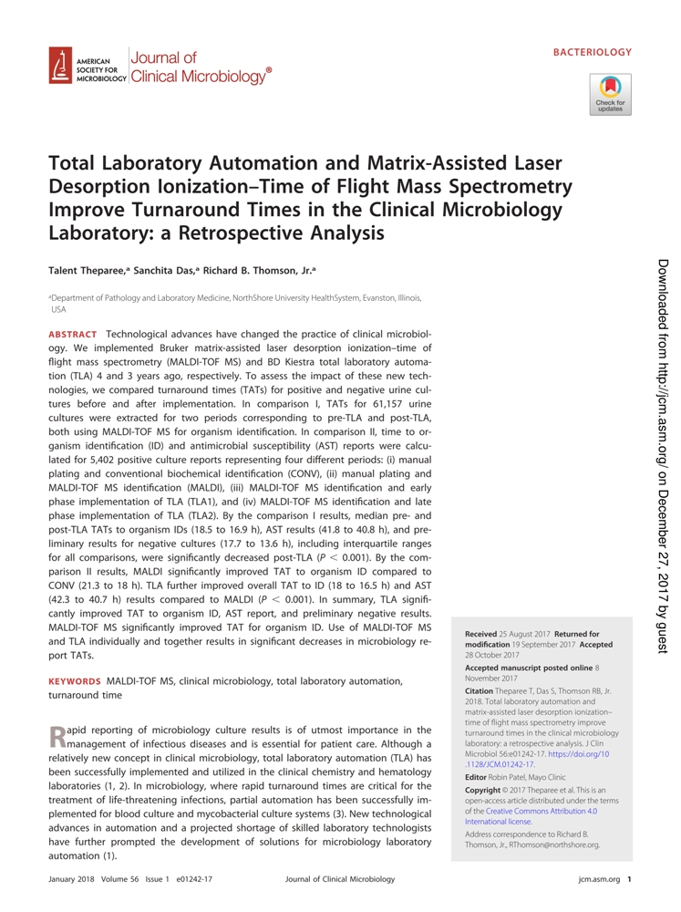 total-laboratory-automation-and-matrix-assisted-laser-desorption-ionizationtime-of-flight-mass-spectrometry-improve-turnaround-times-in-the-clinical-microbiology-laboratory-a-retrospective-analysis